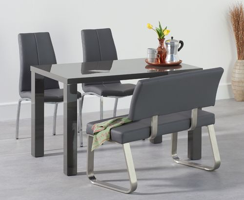 120cm Dark grey gloss dining table with bench and chair set