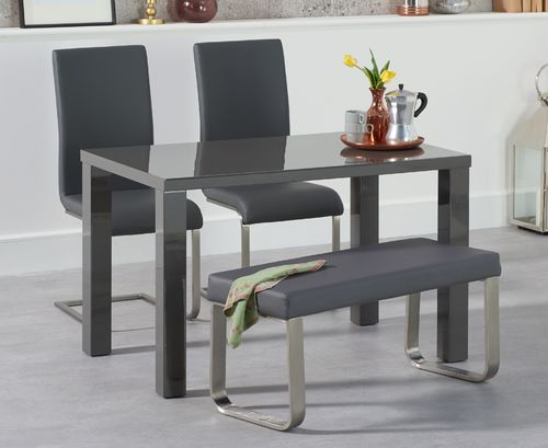Dark grey gloss dining bench set with chairs