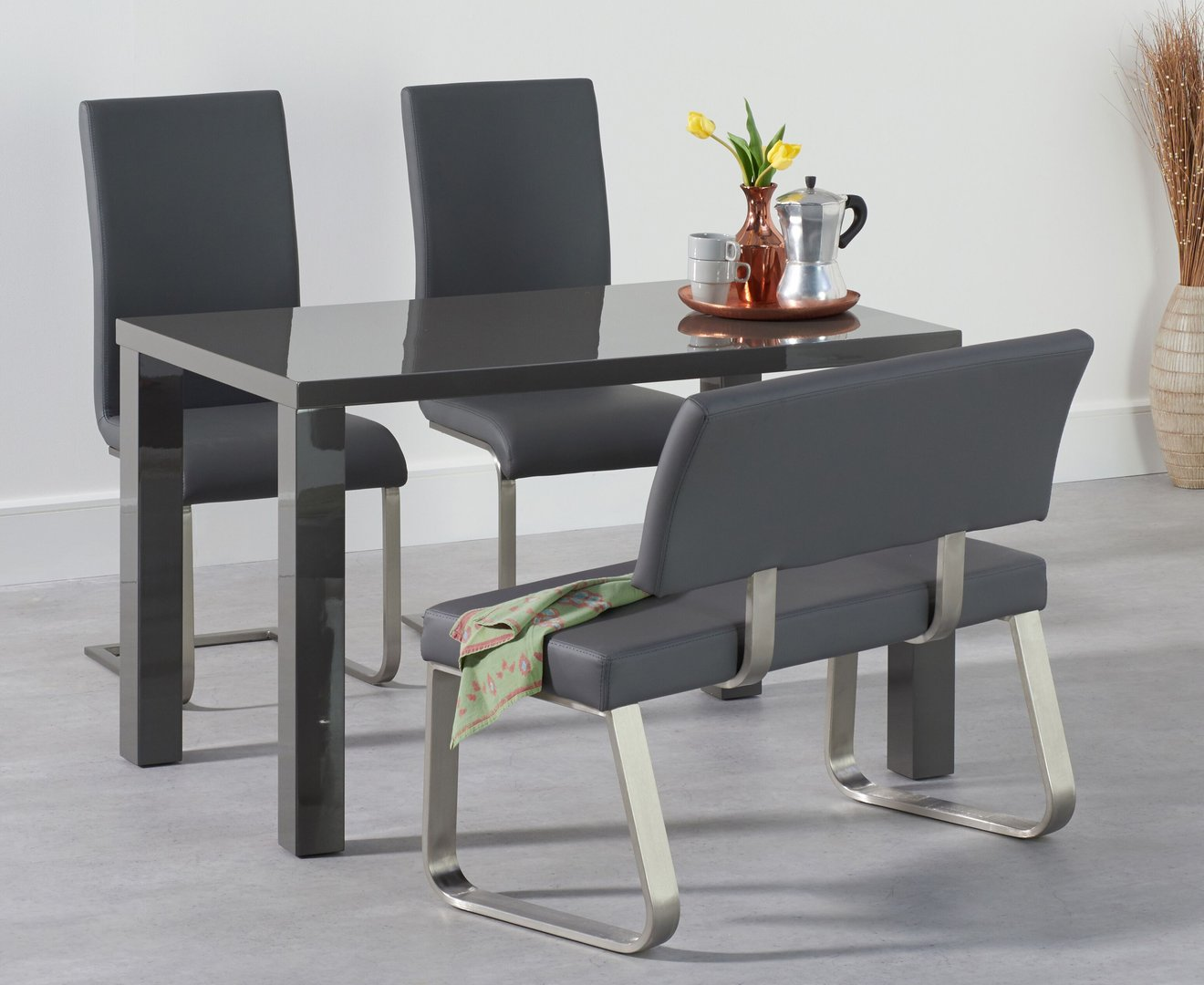 Grey High Gloss Dining Table Bench And Chairs Set Homegenies