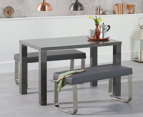 Dark Grey high gloss dining table set with 2 benches