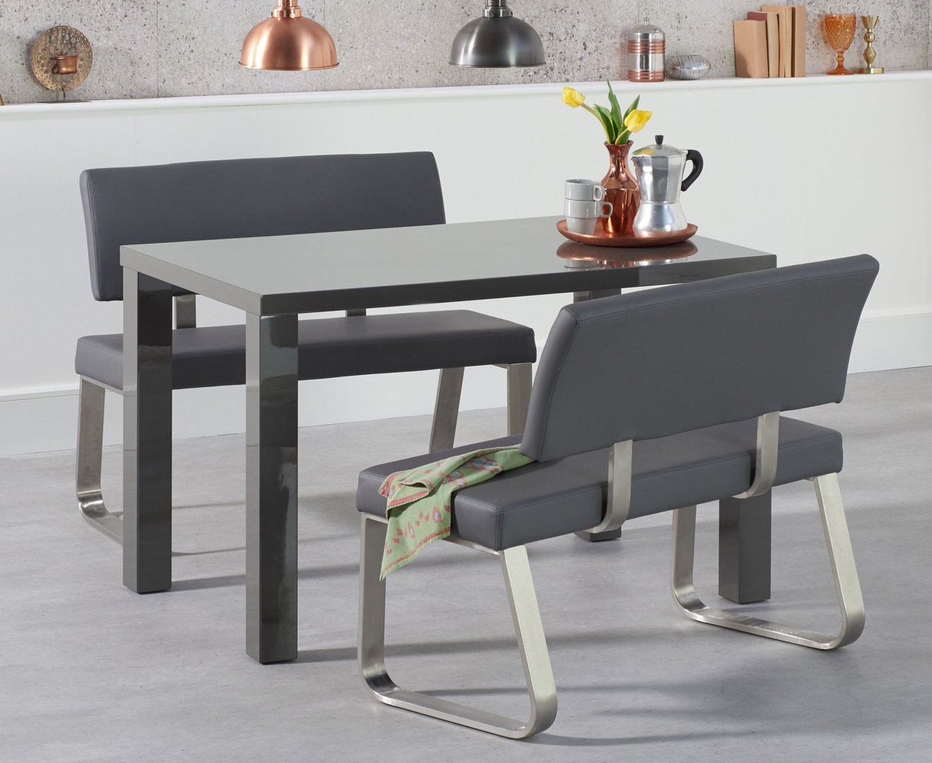 Picture of: Dark Grey High Gloss Dining Table Bench With Backs Homegenies