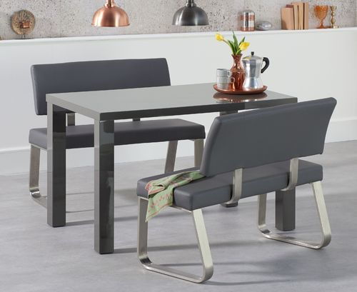 120cm Dark grey high gloss dining table bench with backs set