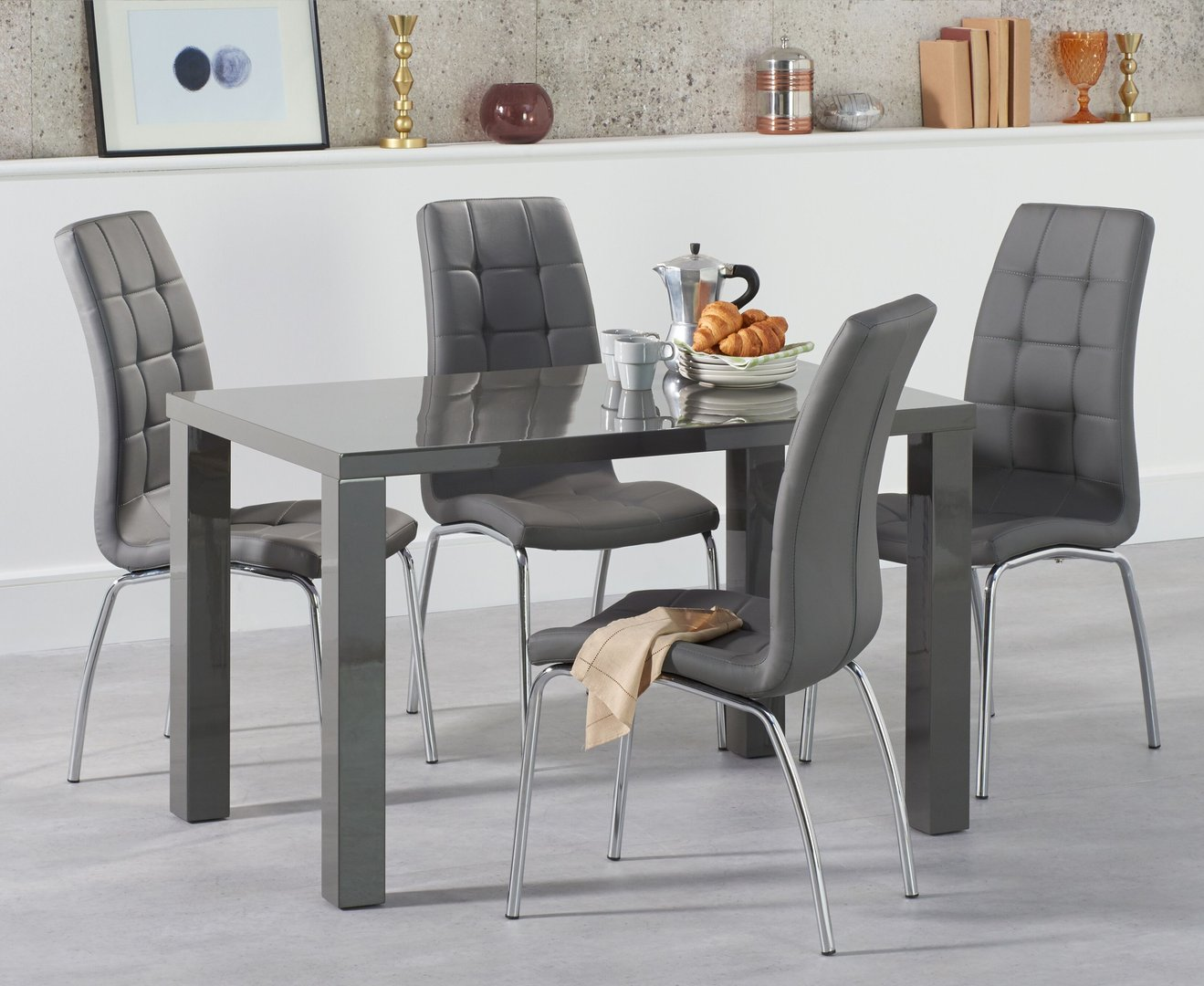 9cm 9 seater Dark Grey high gloss dining table and chairs