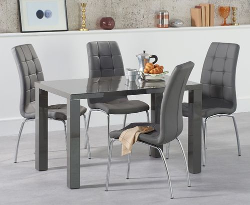 120cm 4 seater Dark Grey high gloss dining table and chairs