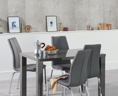 120cm Dark grey high gloss dining table and 4 grey chairs