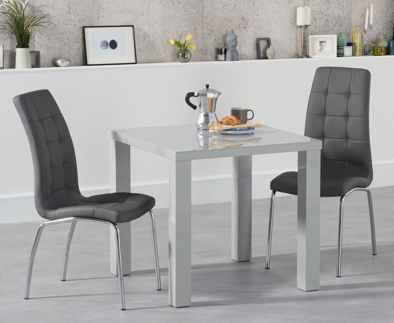 Square Light Grey High Gloss Dining Table 2 Chairs Homegenies