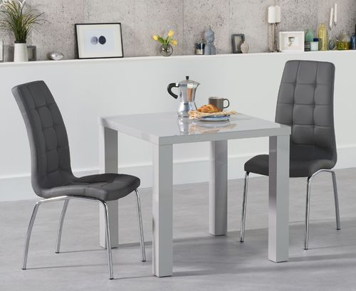 80cm Square light grey high gloss dining table and 2 chairs