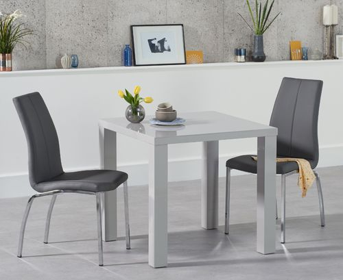 80cm light grey high gloss dining table and 2 chairs
