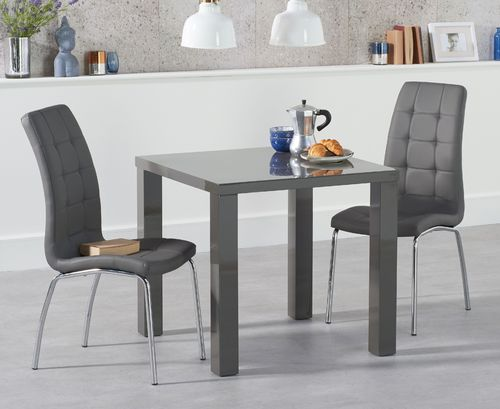 80cm Square dark grey high gloss dining table and 2 chairs
