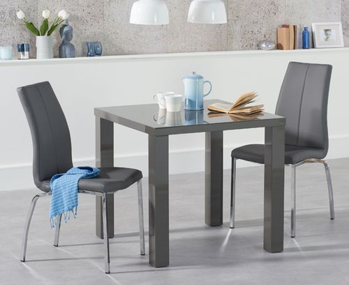 Square dark grey gloss dining table and 2 chairs