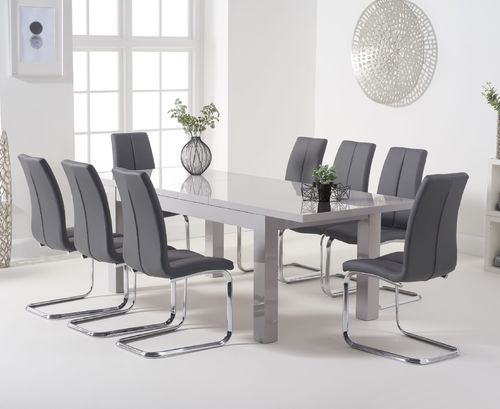 220cm Extending light grey high gloss dining table and 8 chairs