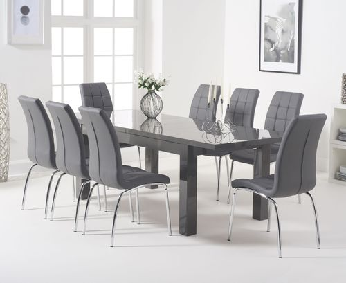 Dark grey extending high gloss dining table & 8 chairs