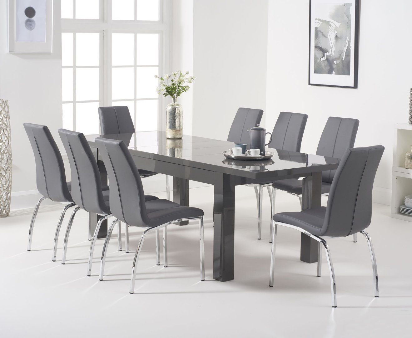 8 Seater Dark Grey High Gloss Dining Table Chairs Homegenies