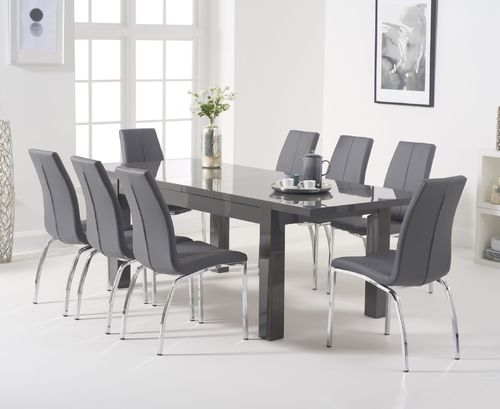 8 seater dark grey high gloss extending dining table and chairs