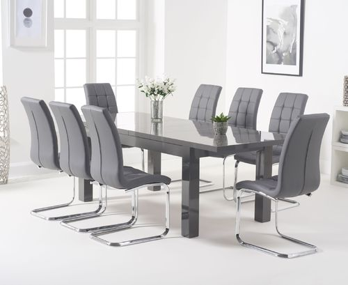 Extending dark grey high gloss dining table with 8 chairs