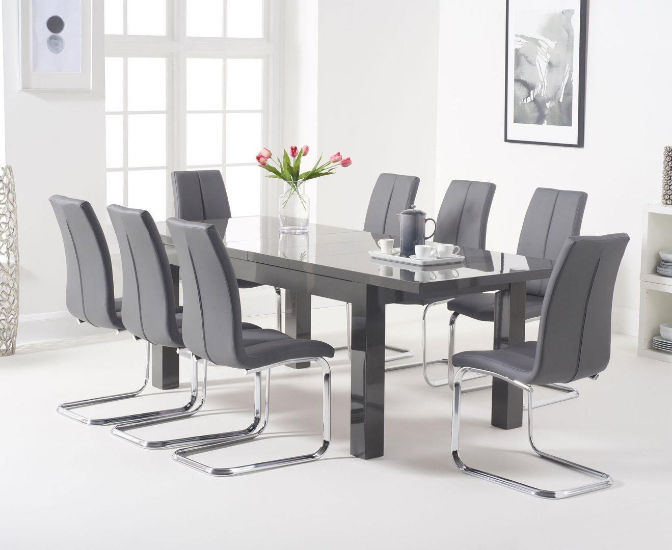 Extendable Dark Grey Gloss Dining Table 8 Chairs Homegenies