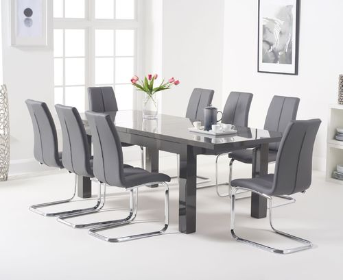 Extendable Dark grey high gloss dining table and 8 chairs
