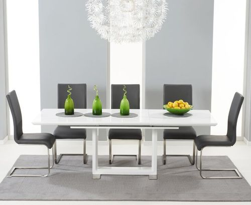 Extendable white high gloss dining table with 6 grey chairs