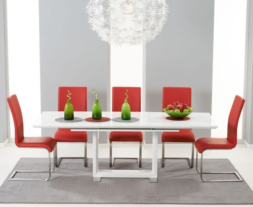Extendable white high gloss dining table with 6 red chairs