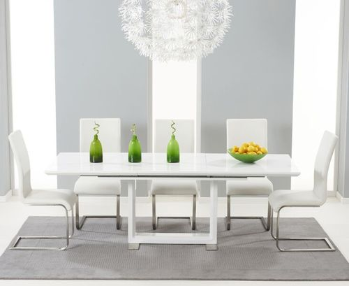 Extendable white high gloss dining table with 6 chairs