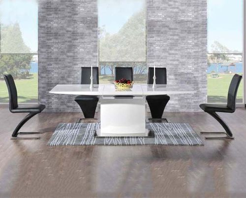 160-220cm Extending white high gloss dining table and 8 black chairs