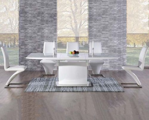 160-220cm Extending white high gloss dining table and 8 white chairs
