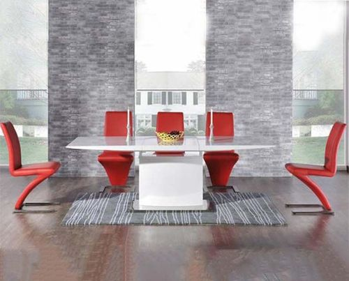 160-220cm Extending white high gloss dining table and 8 red chairs
