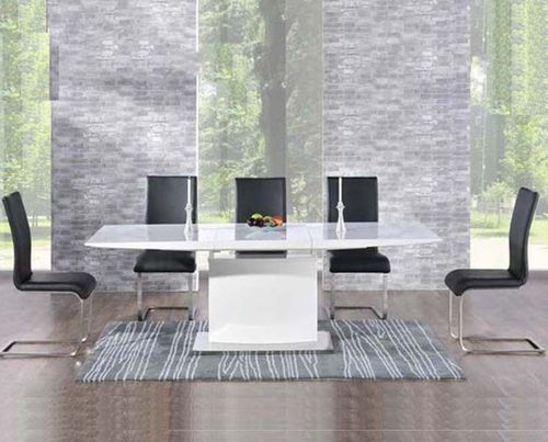 Extending 8 seater white high gloss dining table and black chairs