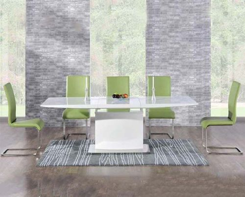 Extending 8 seater white high gloss dining table and green chairs