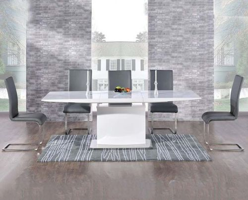 Extending 8 seater white high gloss dining table and grey chairs