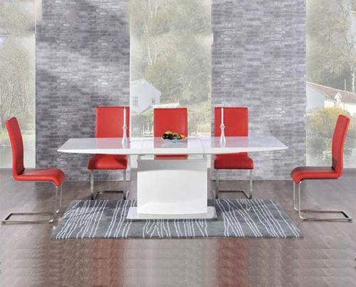 Extending 8 seater white high gloss dining table and red chairs