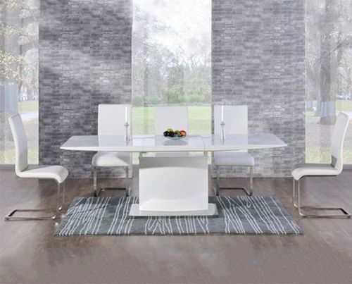 Extending 8 seater white high gloss dining table and white chairs
