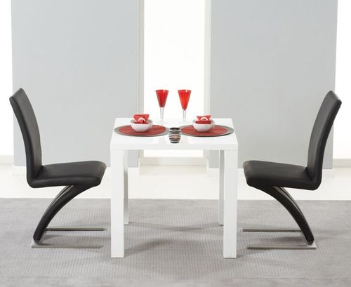 White high gloss dining table and 2 black Z chairs