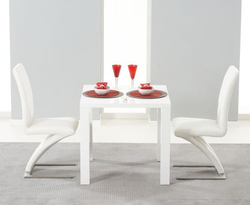 White high gloss dining table and 2 Ivory Z chairs