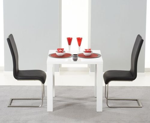 White high gloss dining table and 2 chairs