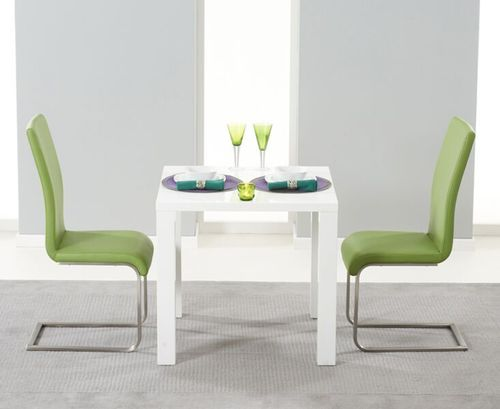 White high gloss dining table and 2 green chairs