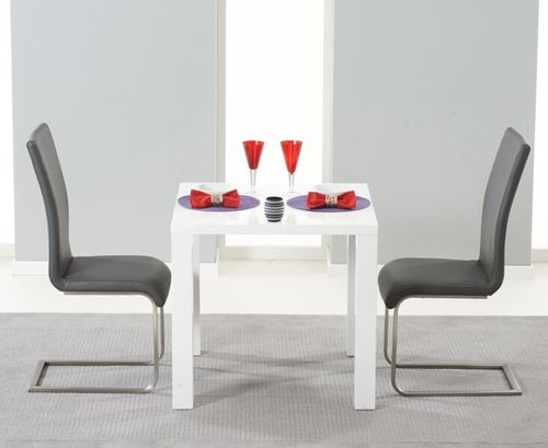 White high gloss dining table and 2 grey chairs