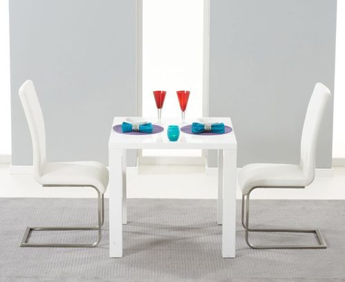 White gloss dining table and 2 white chairs