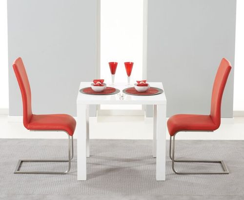 White high gloss dining table and 2 red chairs