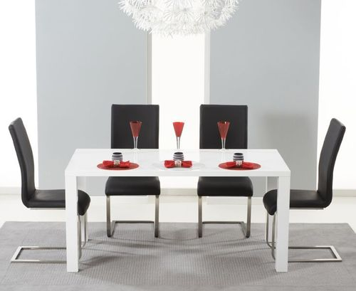 160cm White gloss dining table and 4 chairs