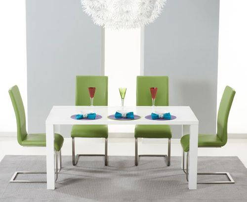 160cm White high gloss dining table and 4 green chairs