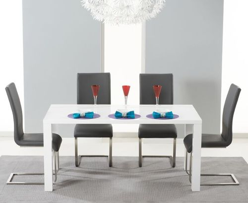 160cm White high gloss dining table and 4 grey chairs set