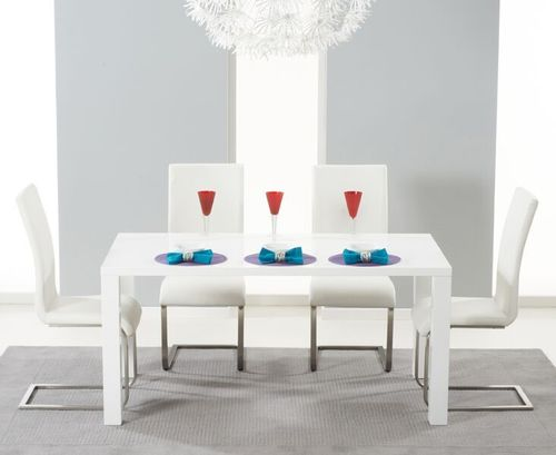 160cm White dining table and 4 white chairs set