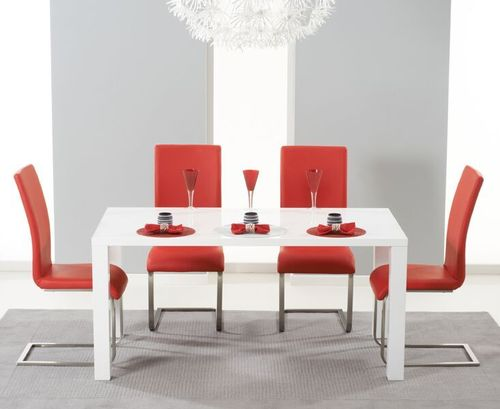 160cm White high gloss dining table and 4 red chairs