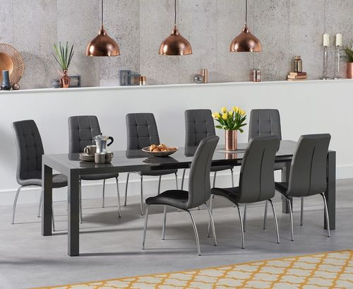 Extending dark grey high gloss dining table and 10 grey chairs