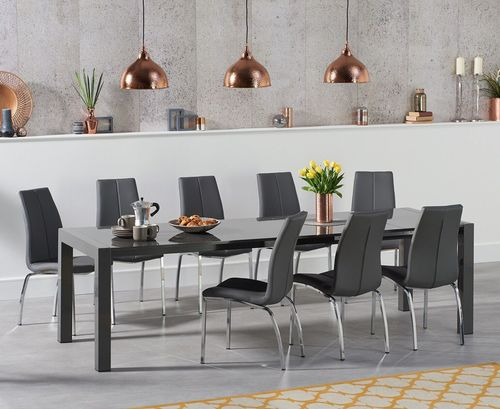 Large dark grey high gloss dining table and 10 chairs