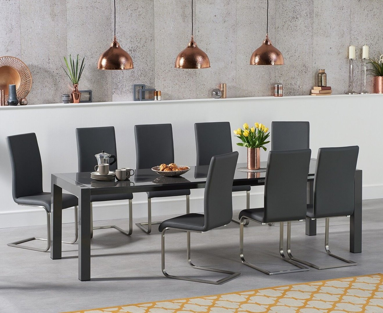 Picture of: 10 Seater Dark Grey High Gloss Dining Table Chairs Homegenies