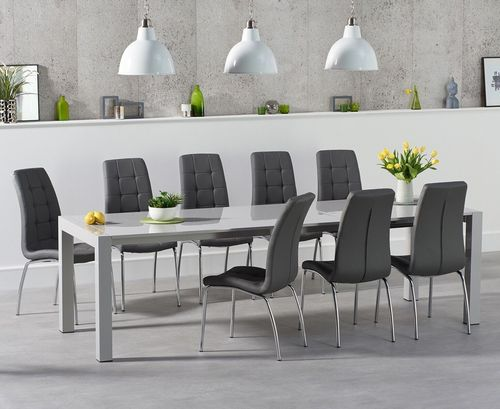 Extra large light grey high gloss dining table and 10 chairs