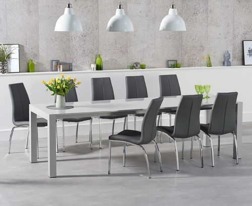 10 Seater Light grey high gloss dining table and chairs set
