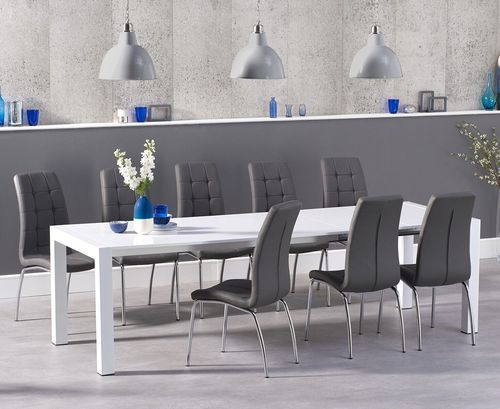 Extra large white high gloss dining table and 10 grey chairs